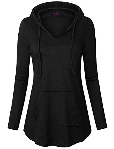 Anmery Direct Hoodies for Women Henley V Neck Lightweight Casual Pullover Hoodie Sweatshirt with Kangaroo Pocket Black (Womens Hooded Henleys)