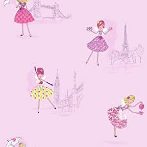Fine Decor Vintage Fairies Hoopla Wallpaper Lilac