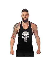 Men Skull Print Muscle Bodybuilding Gym Sleeveless Vest Tank Shirt T-shirt Tops