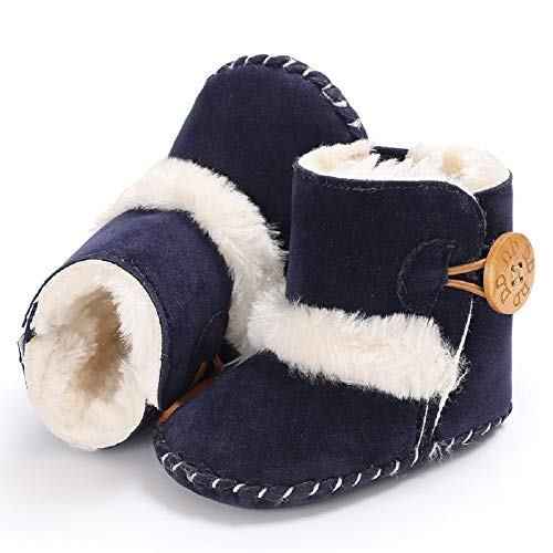 Fnnetiana Baby Winter Buttons Snow Boots Warm Shoes Anti-Skid Plush Ankle Booties Newborn Infant Crib Boots (12-18 Months, Navy Blue)