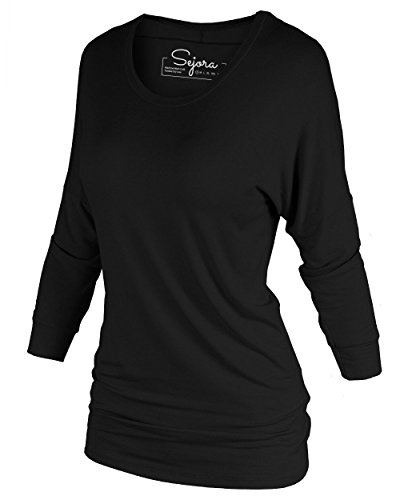 3/4 Sleeve Boatneck Top In Black - 3