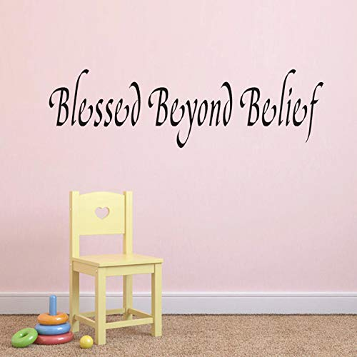 Blessed Beyond Belief Wall Art Sticker,Inspirational Quote Wall Decal,Religious Faith Home Decal Decor Christian Quote Bible Scripture Wall Decals(Black).