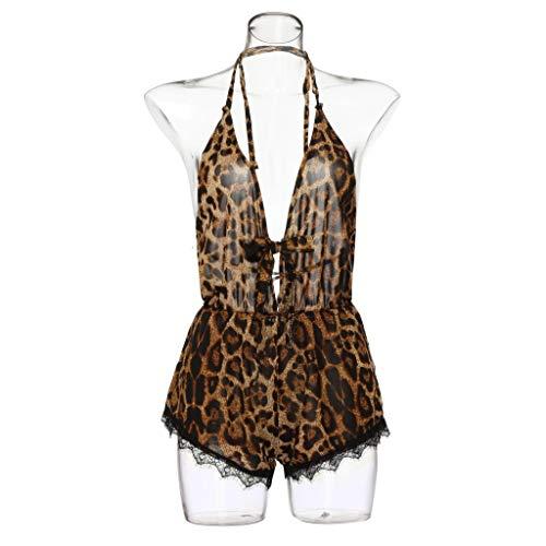 AopnHQ Women's Sexy Sheer Mesh Mini Bodysuit/Leopard Lace Teddy Lingerie Bodysuit for Sex, Womens Babydoll Lingerie Sleepwear (Sheer Chiffon Peignoir)
