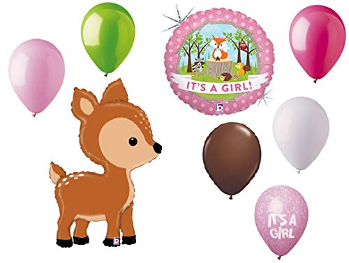Baby Shower Bouquets - DalvayDelights Oh Deer 8 pc Woodland It's a Girl Baby Shower Animals Balloons Bouquet Party Decoration Set