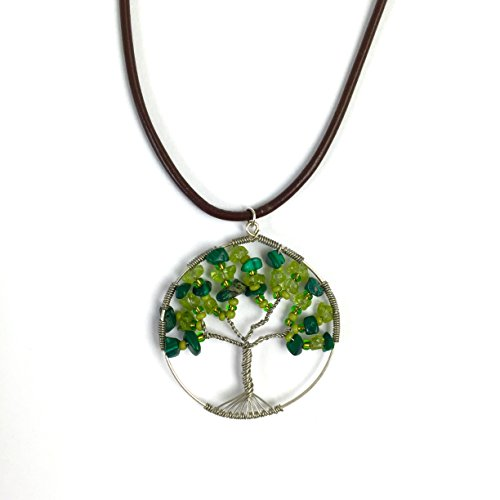 Altiplano Tree of Life Necklace Fair Trade Wire Wrapped Bohemian Handmade in Guatemala (Semi Hoop Wire Earrings)