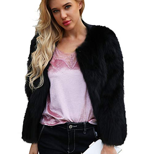 DEELIN Moda Mujer Personalidad Ocasional ImitacioN Piel SoLido Color Gran Chaqueta De Solapa Invierno Abrigo De Felpa Abrigo Negro