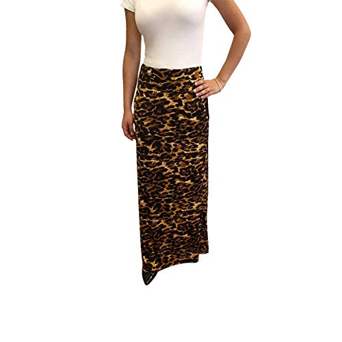 OrlyCollection Women Basic Elastic Waist Band A-Line Long Maxi Skirt (Leopard,Large)