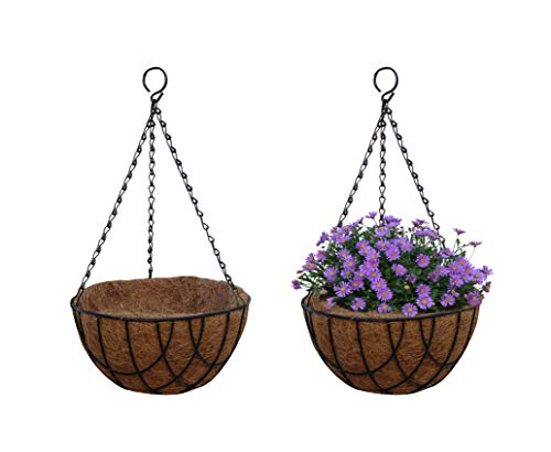 (TABOR TOOLS Coconut Hanging Planter Basket with Natural Coir Liner, Water Saving Hanging Flower Pot, Decor Hanging Basket, Chain and Hook Included. MT2100A. 2-Pack. (10 Inch, Wire,)