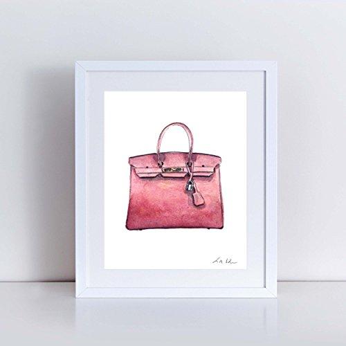 Hermes Birkin Bag Print Mauve Pink Hermes Handbag Art Hermes Watercolor Painting Fashion Illustration Fashion Art Print Vintage Hermes Preppy Art Print Canvas Art