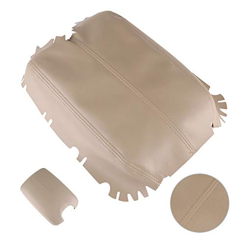 SCITOO Auto Beige Leather Armrest Center Console Lid Skin Cover Replacement fit for 2008-2012 Honda Accord