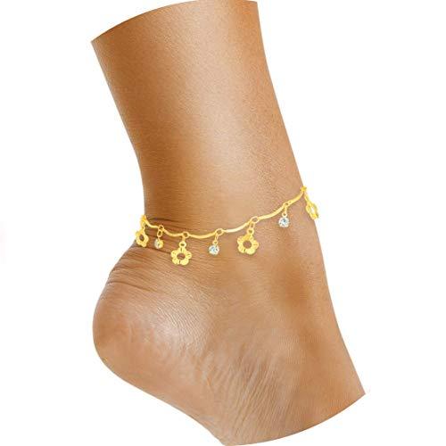 Lifestyle 18K Gold or Silver Plated Anklets for Women or Teen Girls - Beach Ankle Bracelets in Cute Boho Dainty Beaded or Swarovski Crystal Rhodium Foot Jewelry Anklet Chains (Flower)