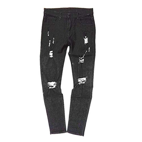 Cracks Cher Jeans Skinny Strappato Denim Slim Stretchy Casual Biker R Nero Fori Pantaloni Pants Fit Rt Targogo Uomo 7qFF6
