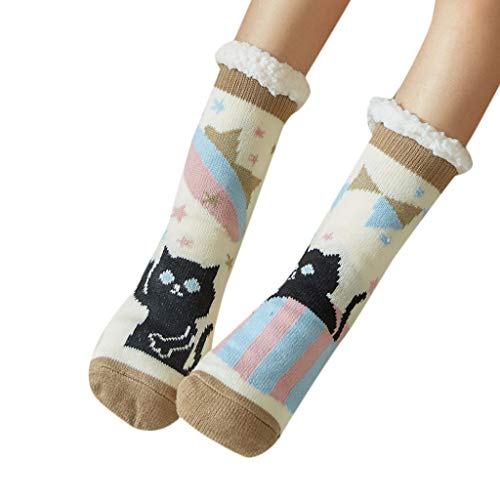 Girls Socks Pgojuni Women Cartoon Print Warm Winter Mid Tube Cute Socks