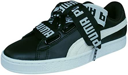 83f94d7d53b5 Puma Women s Basket Heart De Wn S Black White Leather Sneakers-3.5 UK India