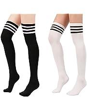 Vrouwen Streep Over Knie Dij Sokken Casual Elastische Dij Hoge Kous 2 Pack