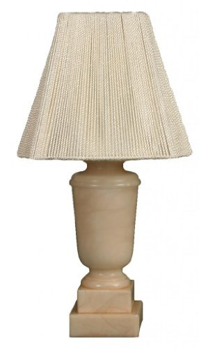 Royal Designs Champagne Alabaster Mini Lamp & Square Bell Lampshade