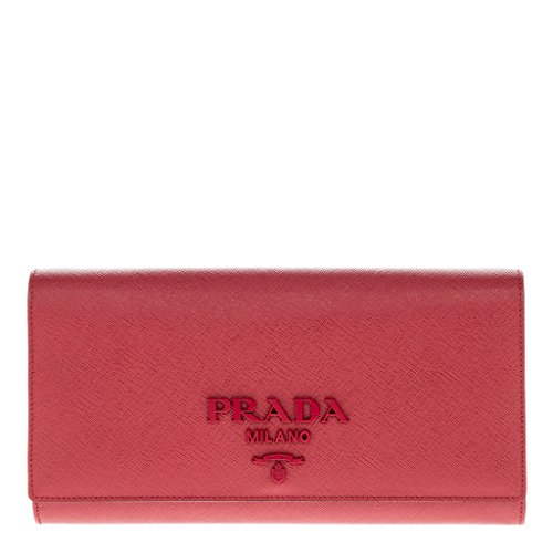 Prada Women's Saffiano Leather Clutch with Chain Strap Red