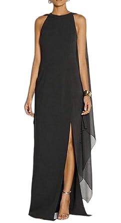 0c1da2f587f HTOOHTOOH Women s Formal Trumpet Sleeves Chiffon High Slit Evening Gown  Maxi Dress with Cape Black XXS