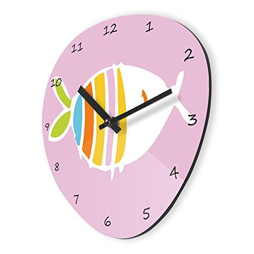 Pink Fish Pebble Shape Large Refelx Non-Ticking Silent Acrylic Wall Clock