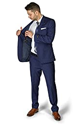 Slim Fit 2 Button Notch Lapel PinStripe Suit Flat Front Pants 1688 By AZAR MAN (38 Regular 32 Waist 32 Length , NAVY BLUE)
