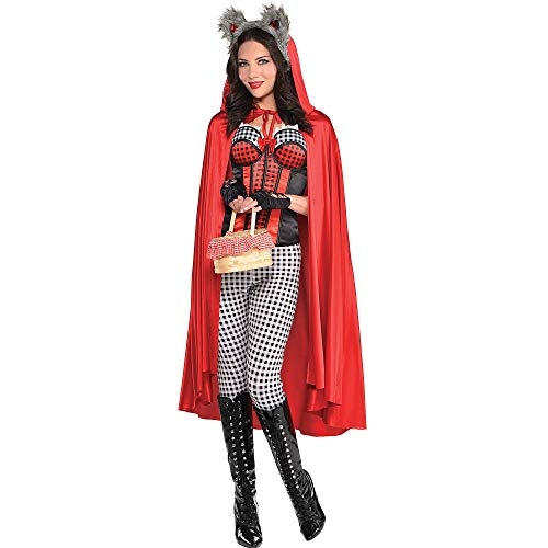 amscan Little Red Riding Hood Cape Halloween Costume Accessories for Women, One Size -