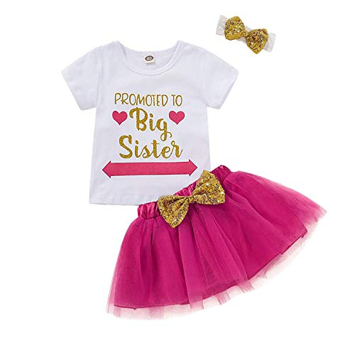 Toddler Baby Kid Girls Big Sister Outfits Short Sleeve T-Shirt Top+Tutu Skirt with Headband Clothing Set (Rose, 3-4 Years)