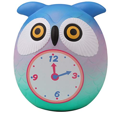 Gbell Cute Cartoon Owl Clock Scented Squishies,Fun Collection Stress Relief Toy,Very Slow Rising Girls Kids Boys Doll Gift,Decorative Props, 13×8 cm,1 Pcs (D)