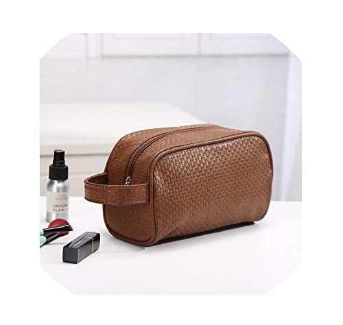 (Waterproof Toiletry PU Bags Leather Trel Cosmetic Bag Women Neceser Makeup Case Beauty Storage Bags,Brown)