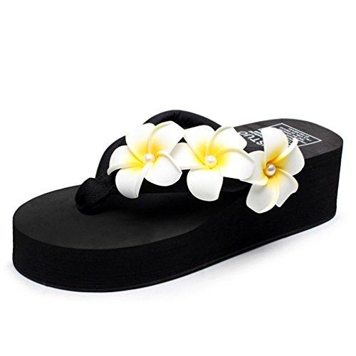 avec Talon Tongs Flip de Noir Slippers Sandales Flops Chaussures Fleurs Femmes Été Compensées Femmes Plage Compensé xpUHOq