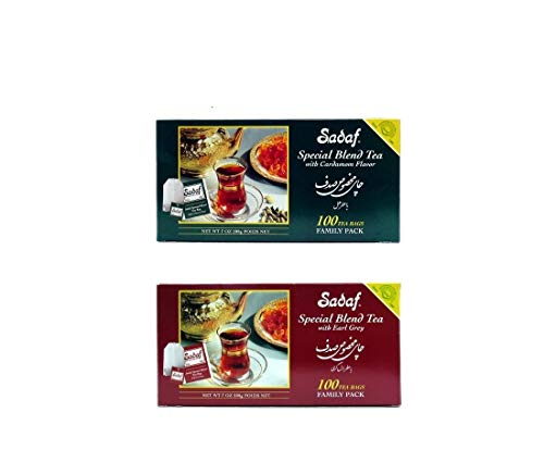 - Sadaf Special Blend Tea 2 Pack Set - Earl Grey and Cardamom - 100 Count Each