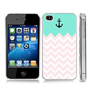 Turquoise and Pink Anchor Sailor Sea Life Snap-On Cover Hard Carrying Case for iPhone 4/4S (Clear)