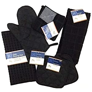 Kitchen Towel Set with 2 Quilted Pot Holders, Oven Mitt, Dish Towel, Dish Drying Mat, 2 Microfiber Scrubbing Dishcloths (Black)