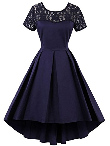Women High Low Church Dresses Short for Special Occasion,Navy (Blue Masquerade Dress)