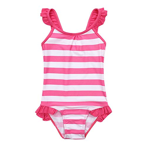 Teerwere Girls One Piece Swimsuits Summer Pink Stripe One Piece Swimsuit Swimming Costume Uv Protection Swimwear Crochet Ruffle Bathing Suits (Size : 2)]()