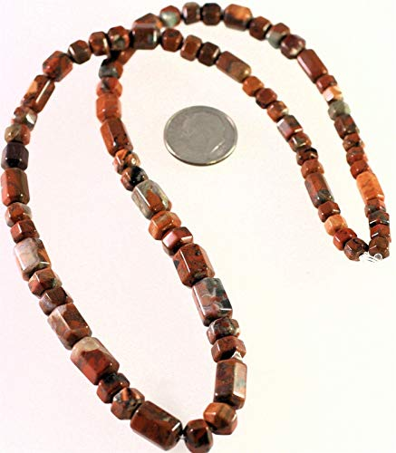 - 1 Strand Natural Fire Red Jasper 6 Sided Barrel Gemstone Beads
