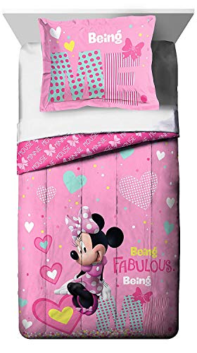 - Franco Manufacturing Disney Minnie Mouse Kid's Bedding Reversible Twin/Full Comforter with Sham
