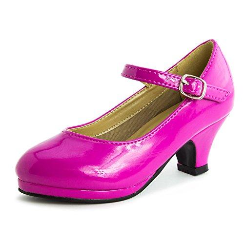 Link Dana-63k Kids round toe kitten heel squeaky mary jane patent shoes Fuchsia 9