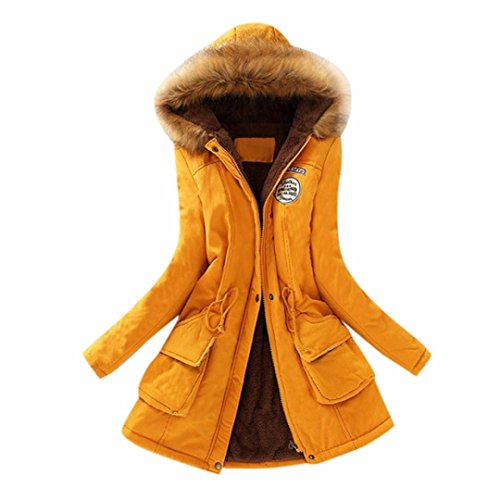 Womens Warm Long Coat Fur Collar Hooded Jacket Slim Winter Parka Outwear Coats (L, Yellow)