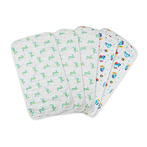 Muslin Baby Burp Cloths, 5 Pack, Soft and Absorbent, Organic Cotton, Boy or Girl