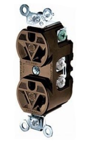 (Hubbell Wiring Systems HBL5302 Flush Traditional Face Duplex Receptacle, 15 Ampere, 277V, 2 Pole, 3 Wire Grounding,)
