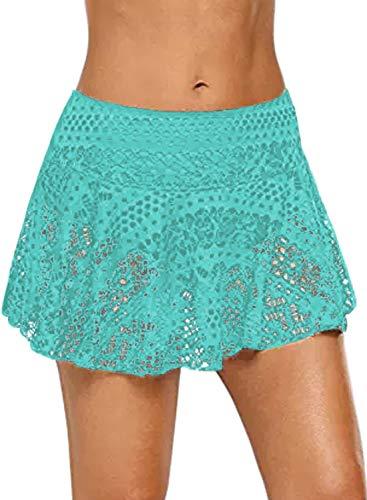 - JomeDesign Swim Skirts for Women Lace Crochet Skirted Bikini Bottoms Swimsuit Skort Swimdress Green Small
