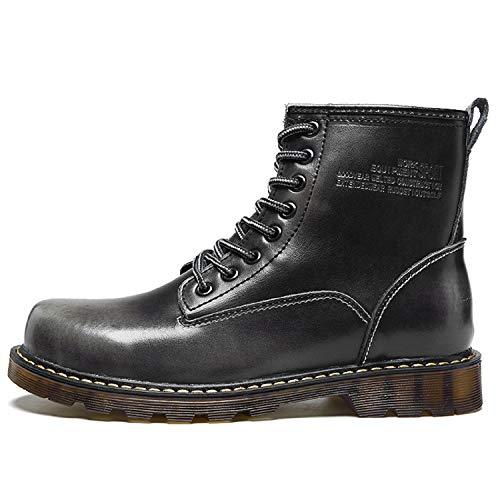 Leder Gefüttert Stiefel Knöchel grau LILY999 Herren Schuhe Warme Schneestiefel Worker Gefüttert Boots Winter Klassischer Wasserdicht Stiefeletten Boots vwqRnExRIS