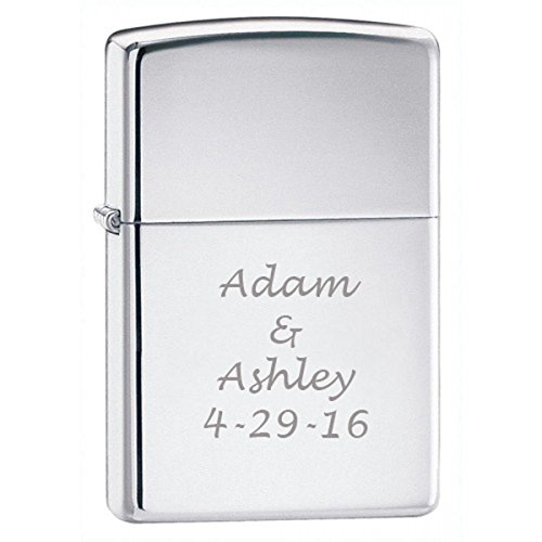 (Groomsman Gift Personalized High Polish Chrome Zippo LIGHTER - Free Laser)