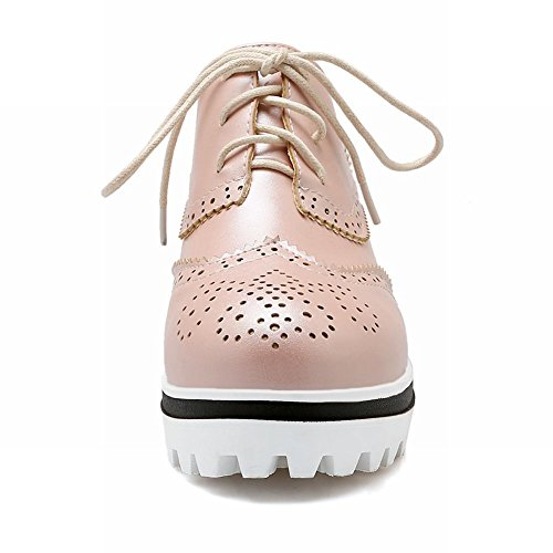 Latasa Femmes Mode Plate-forme À Lacets Wedge Oxfords Chaussures Rose