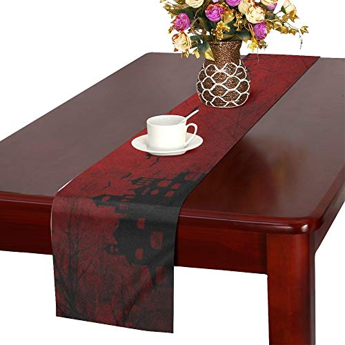 WUTMVING Detailed Red Grunge Halloween Wtih Table Runner,