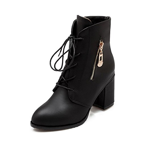 AmoonyFashion Women's Pu High Heels Round Closed Toe Solid Lace Up Boots, Black, 43 (Party City In Coral Springs)