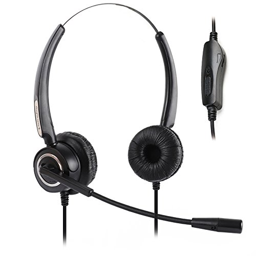 Volume and Mute Switch headphone Office Binaural Headset with Microphone RJ9 Plug FOR CISCO IP Phones 794 X 796X 797 X 69XX Series and 8811,8841,8851,8861,8941,8945,8961,9951,9971 - Ip Telephone Office