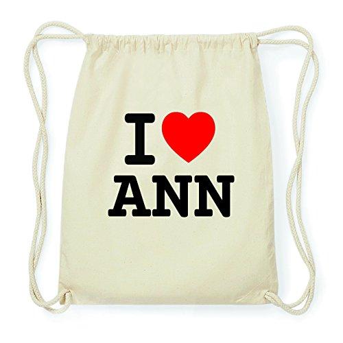 JOllify ANN Hipster Turnbeutel Tasche Rucksack aus Baumwolle - Farbe: natur Design: I love- Ich liebe 4d115W7C