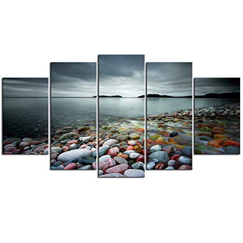 sechars - Peaceful Ocean Large 5 Panels Colorful Stones Under Sunset Landscape Canvas Prints Wall Art for Home Decorations Framed Art Ready to - Art Corner