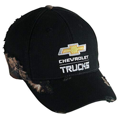 Realtree Silverado Weathered CAMO Cap Chevrolet Truck Gold Bowtie Hat Frayed